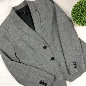 Talbots houndstooth plaid wool blend blazer